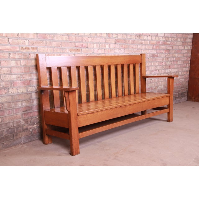 Antique Stickley Style Arts & Crafts Solid Oak Settle or Bench For Sale In South Bend - Image 6 of 13