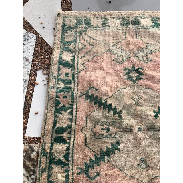 """Hand Made Vintage Tribal Turkish Runner Rug With Greens and Peach 2'9""""x4'2"""" For Sale - Image 4 of 10"""