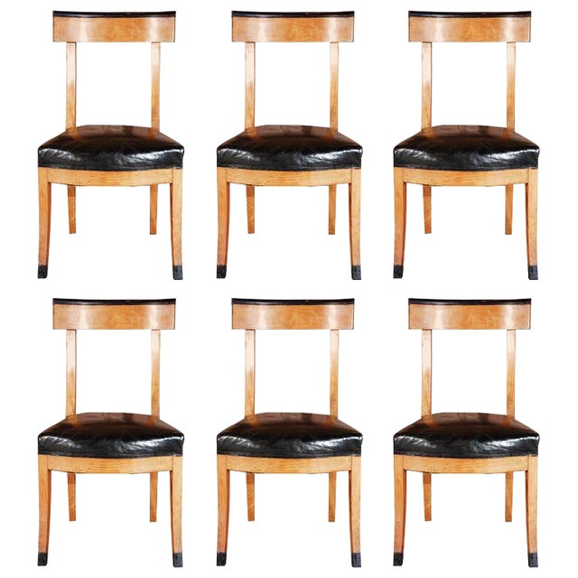 1900s French Dining Chairs With Upholstered Black Leather Seats For Sale