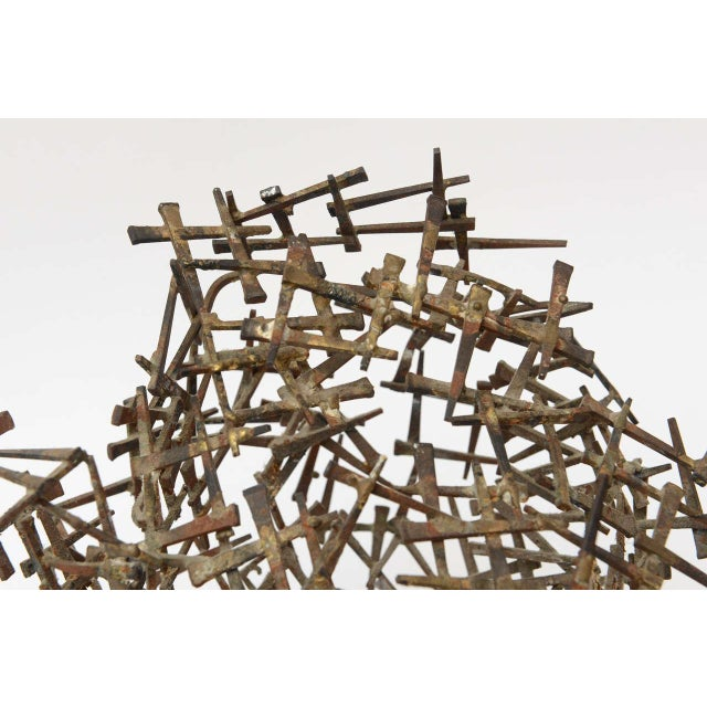 Brown One Of A Kind Brutalist Abstract Nail Tabletop Globe Sculpture For Sale - Image 8 of 10