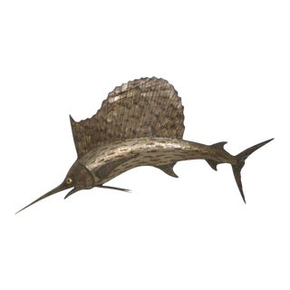 Mid-Century Brutalist Swordfish Three Dimensional Wall Sculpture