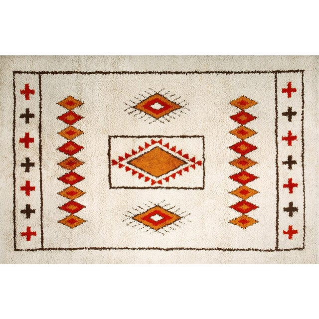 Ivory Moroccan Patterned Rug - 6′8″ × 10′ For Sale