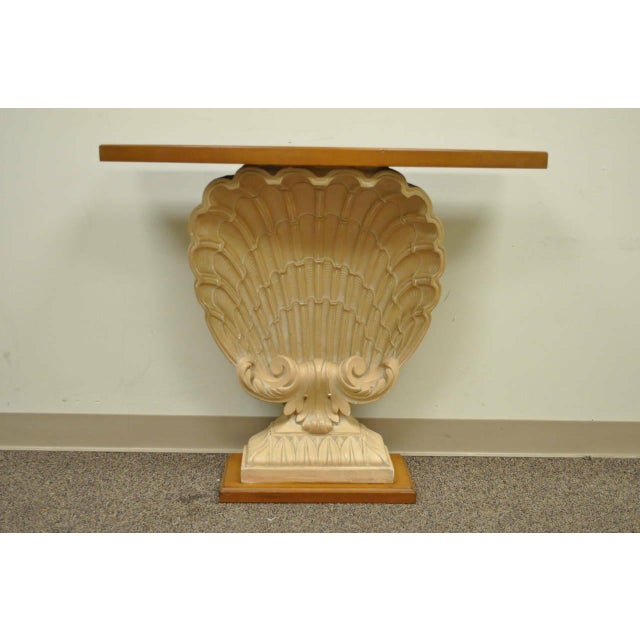 1940s Hollywood Regency Plaster Shell Form Console Hall Table For Sale - Image 10 of 11
