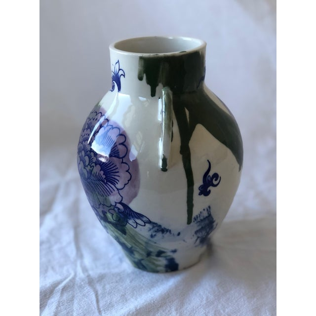2010s Contemporary Ceramic Chrysanthemum Vase With Handles For Sale - Image 5 of 6