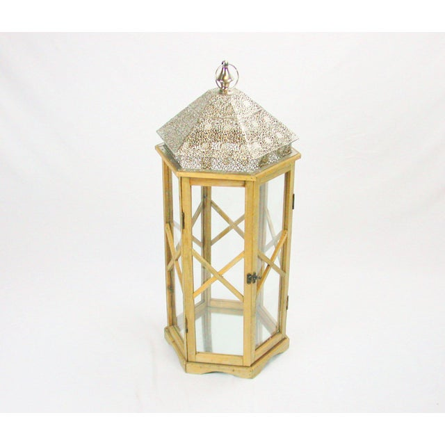 Tall Rustic Bohemian Candle Lantern with Lace Metal Roof - Image 3 of 4