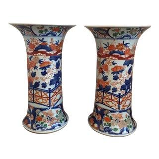 Vintage Imari Trumpet Vases - a Pair For Sale