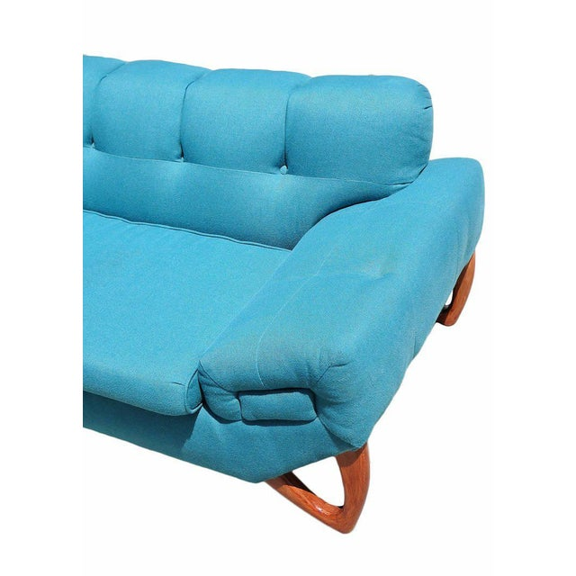 Turquoise Mid-Century Modern Sofa in the Manner of Adrian Pearsall For Sale - Image 8 of 8