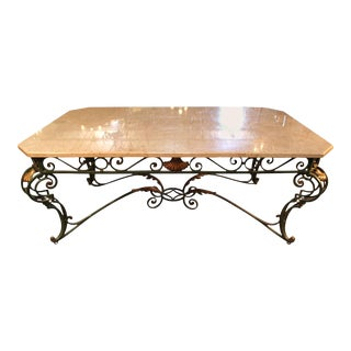 French Louis XV Style Iron and Marble Dining Table For Sale