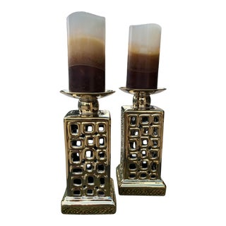 Contemporary Asian Candle Lamps - a Pair For Sale