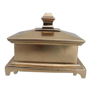 Vintage Hollywood Regency Solid Brass Jewelry Box.