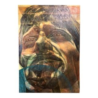 1969 Surrealist Oil on Canvas Portrait For Sale