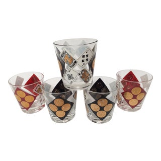 Vintage Red, Black & 22k Gold Playing Card and Coin Rocks Glasses - Set of 5 For Sale