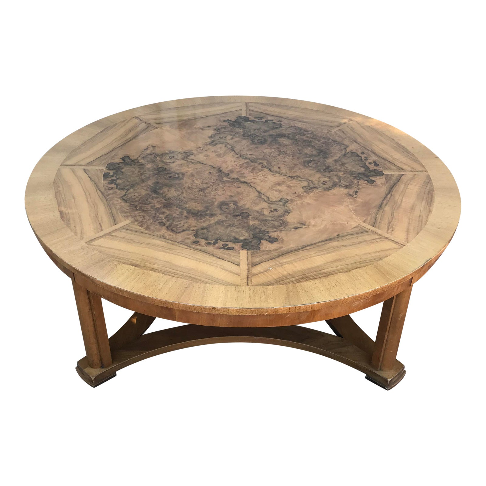 Vintage round burl wood coffee table by baker furniture chairish