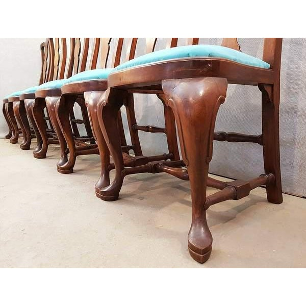 French Antique Chippendale Queen Anne Style Walnut Turquoise Blue Reupholstered Dining Chairs - Set of 6 For Sale - Image 11 of 13