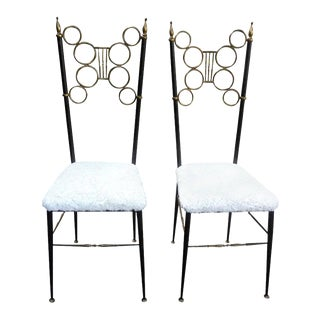 Vintage Italian Brass and Iron Chiavari Chairs-A Pair For Sale