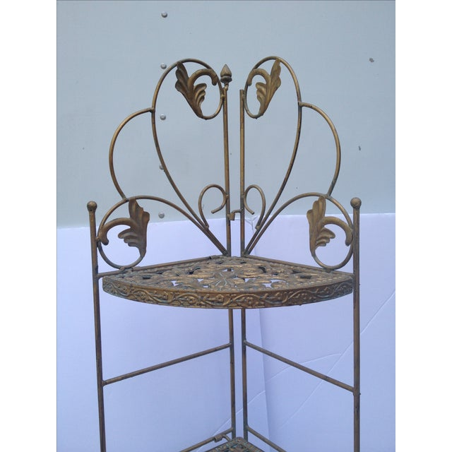 Traditional Folding Brass Corner Table For Sale - Image 3 of 6