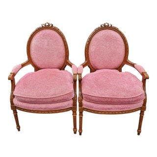 Early 20th Century Antique French Pink Upholstered Carved Bergere Armchairs - a Pair For Sale