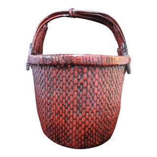 Chinese Red Lacquer Woven Large Oval Basket For Sale