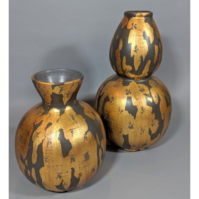 Regency Gold Leaf and Charcoal Gray Vase - Large For Sale - Image 4 of 9