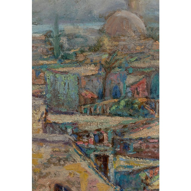 Impressionism Vintage North African Waterfront Oil Painting For Sale - Image 3 of 5