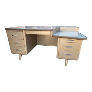 Mid Century Modern Allsteel Vintage Metal Desk For Sale
