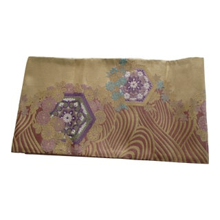 Golden Textured Woven Obi Textile Depicting Flowers in Bloom For Sale