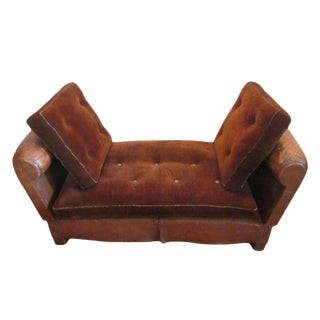 French Art Deco Adjustable Leather Sofa, Settee or Chaise Lounge