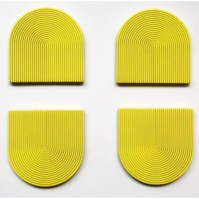 Art Deco Yellow & Gray Coasters - Set of 4 For Sale - Image 3 of 3