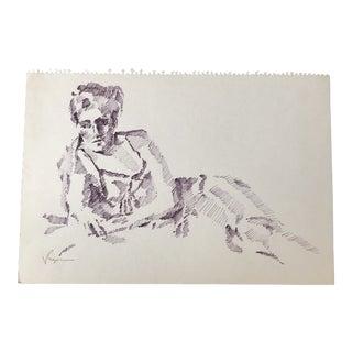 Original Vintage Female Ink Study Sketch Drawing For Sale