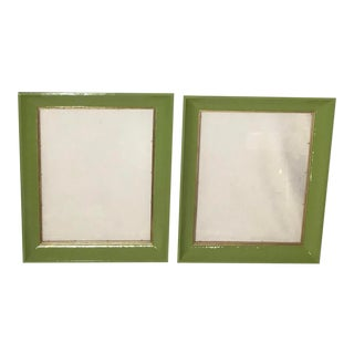 """Vintage Modern 1950's Wood Picture Frames With Glass - a Pair, Interior Opening 16"""" X 20"""" For Sale"""
