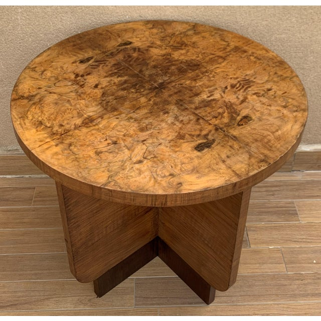 Italian Round Art Deco Burl Walnut Coffee Side Table With Ebonized Legs For Sale - Image 9 of 9