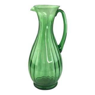 Mid Century Green Ribbed Glass Pitcher For Sale