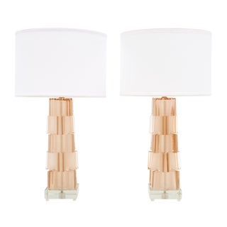 Pink Geometric Murano Glass Lamps For Sale