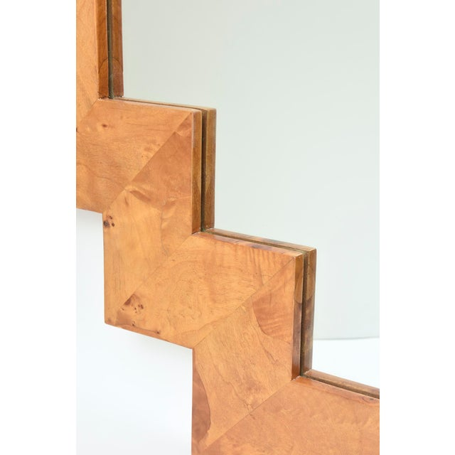 Vintage Italian Burled Wood Geometric Mirror For Sale In Miami - Image 6 of 12