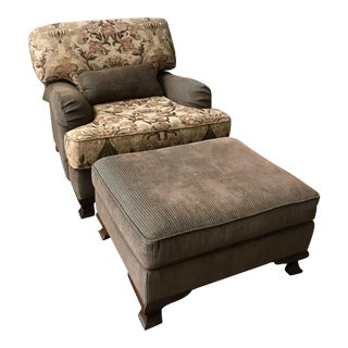 Modern Southwood Large Scale English Arm Chair and Ottoman For Sale