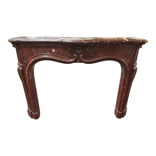 Italian Cherry Red Marble Mantel For Sale
