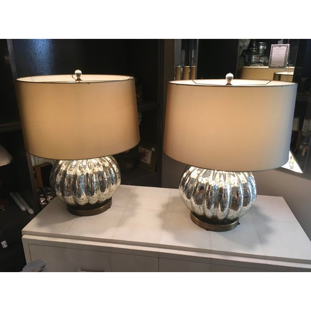 Attractive pair of Pumpkin Shaped Mercury Glass lamps with brass bases and custom shades...in excellent condition