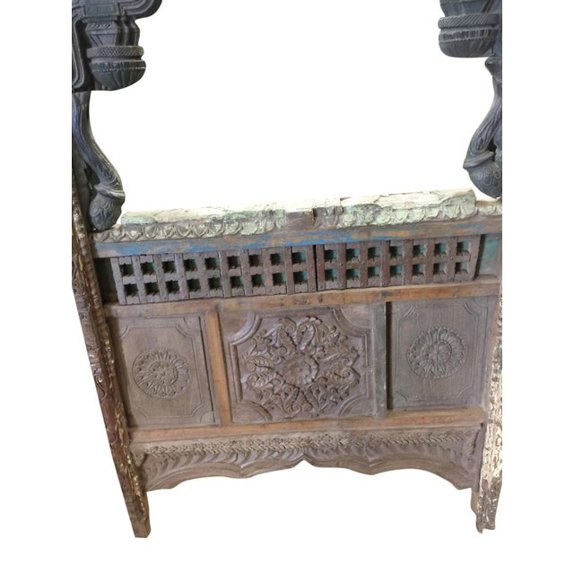 Art Deco 1920s Shabby Chic Jharokha Natural Wood Mirror Frame For Sale - Image 3 of 5