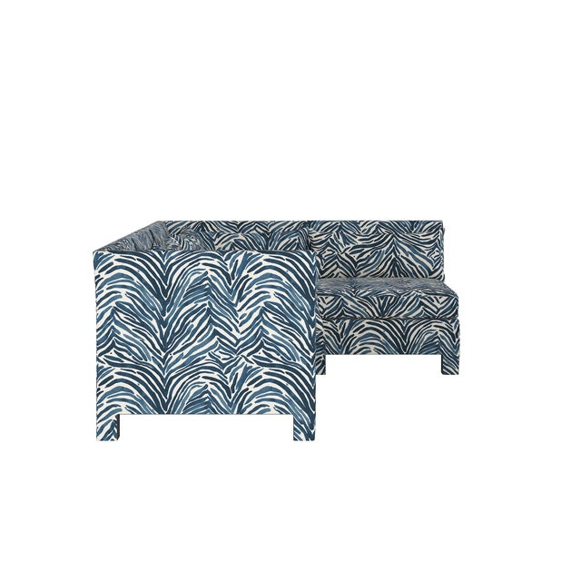 Transitional Washed Zebra Blue 4 Piece Sectional For Sale - Image 3 of 9