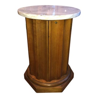 Marble Top Round Wooden Cabinet Table For Sale