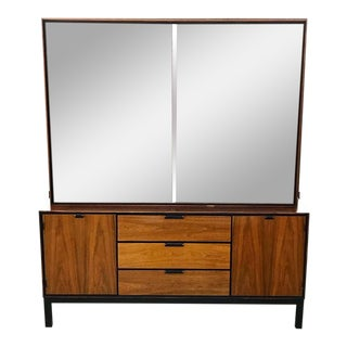 Mid Century Modern Walnut Sideboard With Hutch Top For Sale