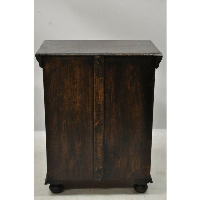 Vintage British Colonial Style Small One Door Wooden Curio Display Cabinet For Sale - Image 11 of 12