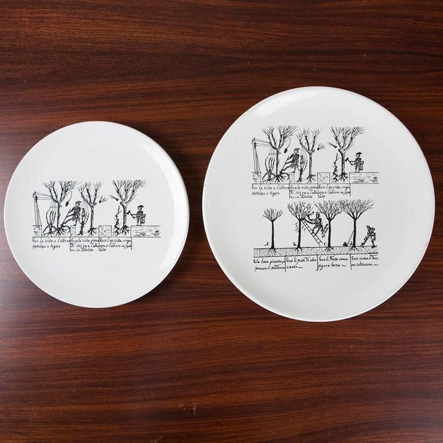 Modern Set of 9 Ceramic Plates by Enzo Bioli for Il Picchio For Sale - Image 3 of 7