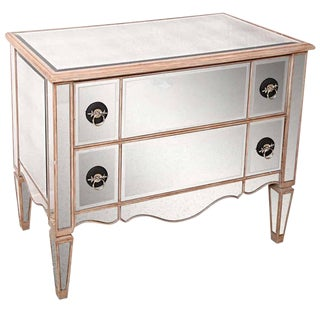 Mirrored Louis XVI Hollywood-Regency Style Two-Drawer Chest For Sale