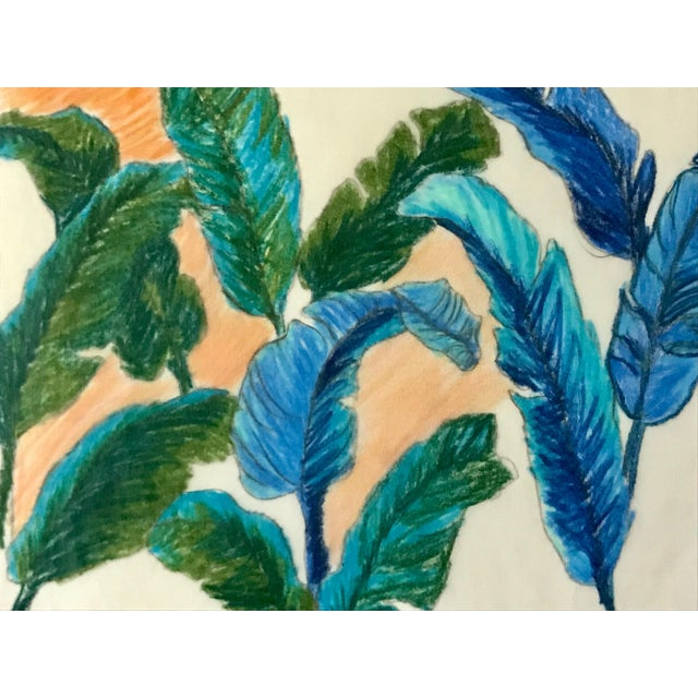 Vintage Original Pastel Drawing of Feathers Tropical Birds For Sale - Image 4 of 6