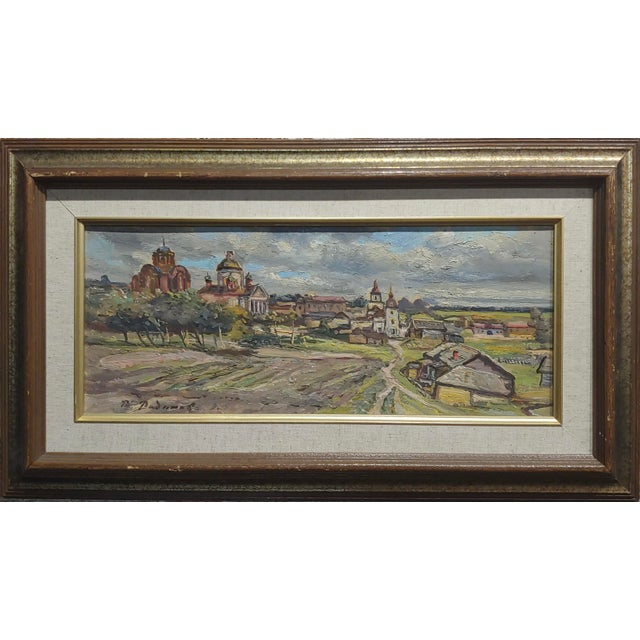 Tatyana Radimova -Khotkovo Village Landscape-1968 Russian Oil painting Oil painting on board - Signed Dated and titled...