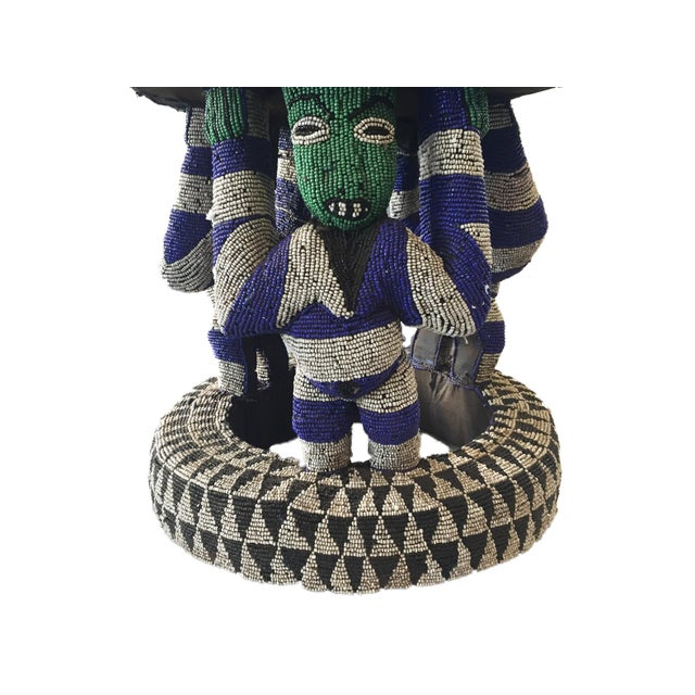 "African African Beaded wood Bamileke Stool /Table Cameroon 19'""H For Sale - Image 3 of 12"