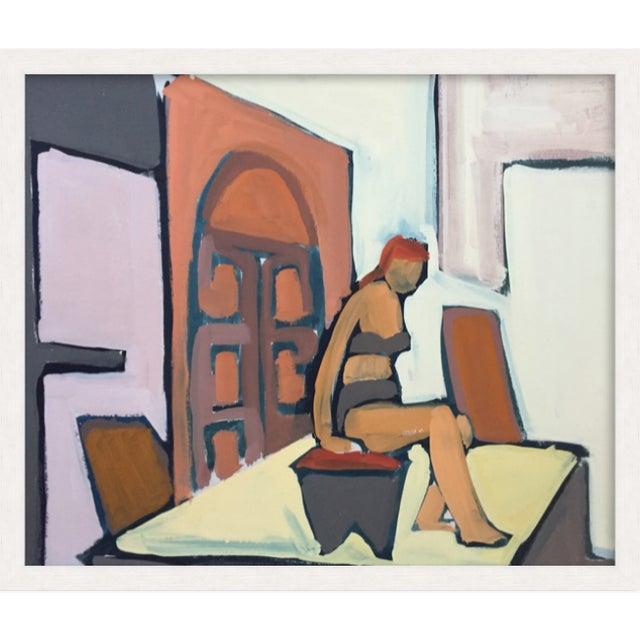 "1950s 1950s Gouache Figurative Painting Bay Area Artist ""Bikini"" For Sale - Image 5 of 6"