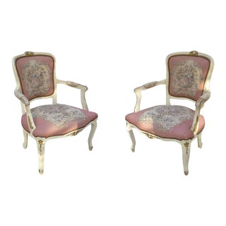 Vintage French Provincial Pink Tapestry Bergere Chairs - A Pair For Sale