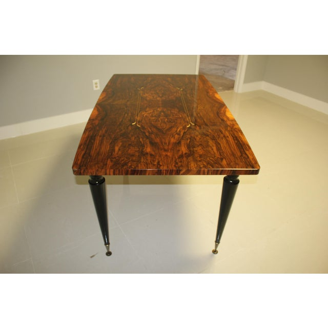 1940s French Art Deco Exotic Burl Walnut Writing Desk / Dining Table For Sale In Miami - Image 6 of 13